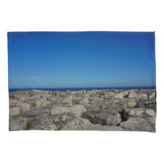 Stunning Lake Pillow Case with Large Rocks