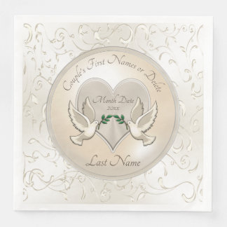 Stunning Love Doves Personalized Wedding Napkins Disposable Napkins
