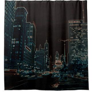 Stunning Michigan Avenue 1967 Chicago Neon Night Shower Curtain