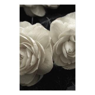 Stunning pale cream roses print stationery design