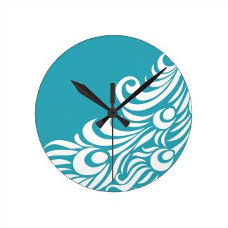 Stunning Peacock Feather Silhouette Print Clocks