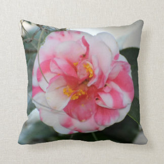 Stunning Pink and White Camellia Flower Damask Throw Pillow