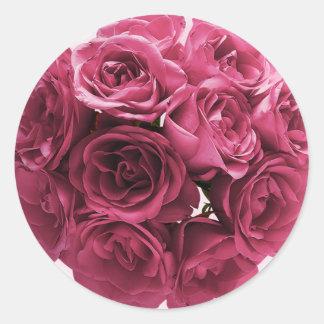 Stunning Pink Roses Wedding Round Sticker