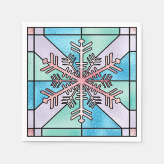 Stunning Pink Snowflake Disposable Napkin