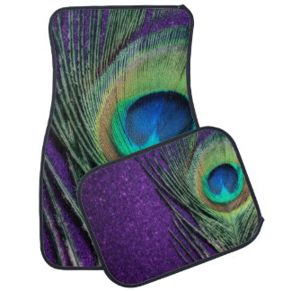 Stunning Purple Peacock Feather Car Mat