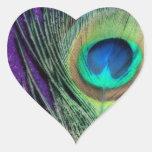 Stunning Purple Peacock Heart Sticker