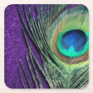 Stunning Purple Peacock Square Paper Coaster
