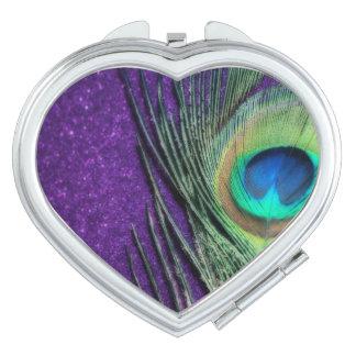 Stunning Purple Peacock Travel Mirror
