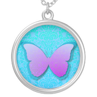 Stunning Purple & Teal  Butterfly Silver Plated Necklace