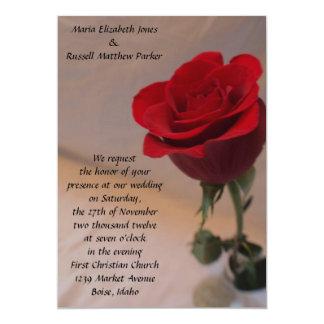 "Stunning Red Rose Wedding 5"" X 7"" Invitation Card"