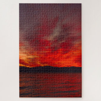Stunning Red Sunset Reflection Large Puzzle