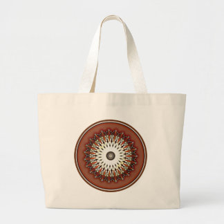 Stunning rich bronze copper mandala kaleidoscope large tote bag