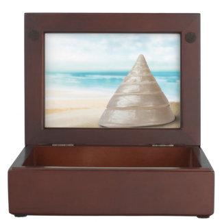 Stunning shimmering sea snail shell on the beach keepsake box