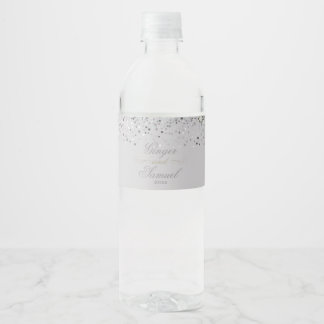 Stunning Silver Glitter Water Bottle Label
