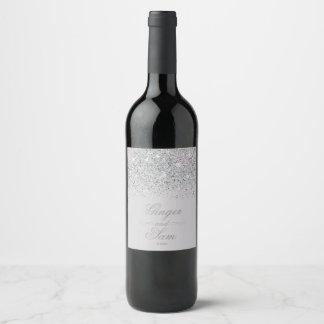 Stunning Silver Glitter Wine Label