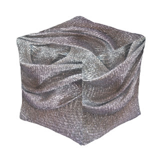 Stunning Sparkly Silver Pattern Cube Pouf