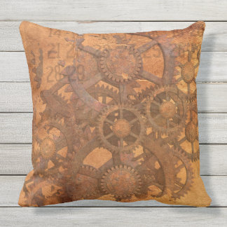 STUNNING STEAMPUNK COGS AND WHEELS throw cushion