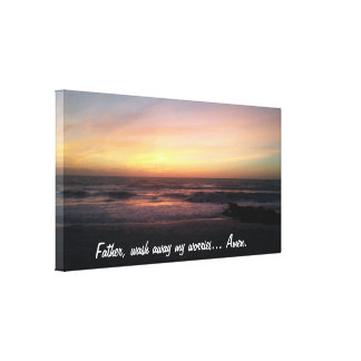 Stunning Sunset on the Beach Photo Prayer Quote Canvas Print