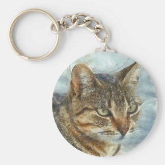 Stunning Tabby Cat Close Up Portrait Basic Round Button Key Ring