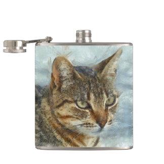 Stunning Tabby Cat Close Up Portrait Flask