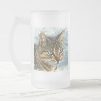Stunning Tabby Cat Close Up Portrait Frosted Glass Beer Mug