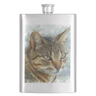 Stunning Tabby Cat Close Up Portrait Hip Flask