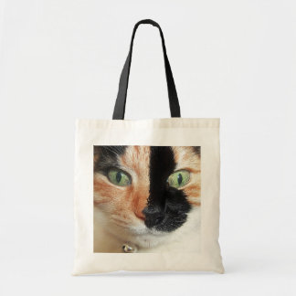 Stunning Tortoiseshell Cat with Vivid Green Eyes Budget Tote Bag
