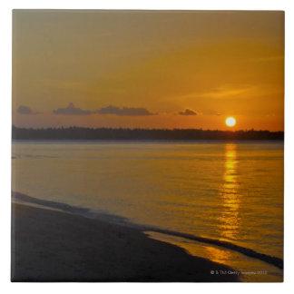 Stunning Tropical Sunset Ceramic Tile