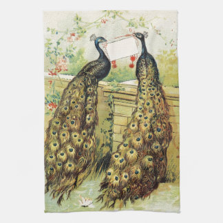 Stunning vintage art peacocks peafowl Xmas gifts Tea Towel