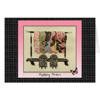 Stunning Vintage Pink Japanese Kimonos Birthday Card