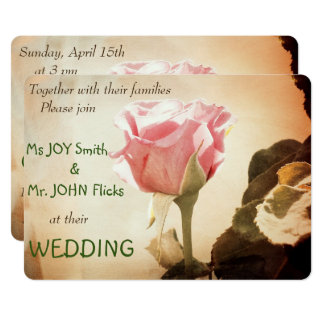 Stunning Vintage Pink Rose Wedding Invitation