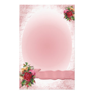 Stunning Vintage Red Rose Stationery Pink Ribbon