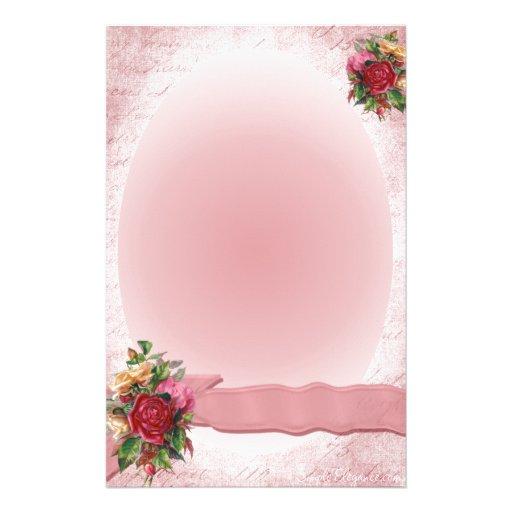 Stunning Vintage Red Rose Stationery Pink Ribbon