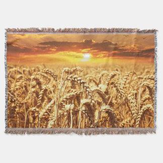 Stunning wheat field sunset throw blanket