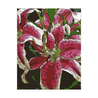 Stunning White Lily Flowers Stretched Canvas Print