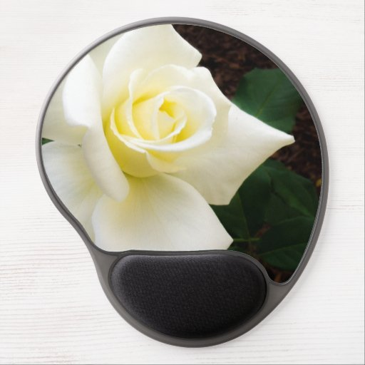 Stunning white rose mouse pad. gel mouse pad