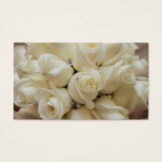 Stunning White Rose Wedding Bouquet Business Card