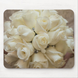Stunning White Rose Wedding Bouquet Mouse Pad