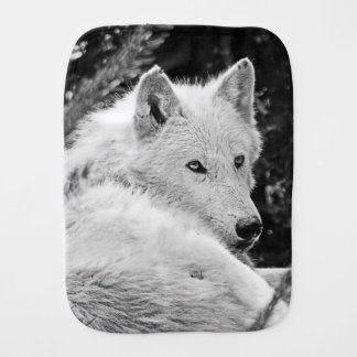 Stunning White Wolf Burp Cloth