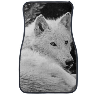 Stunning White Wolf Floor Mat