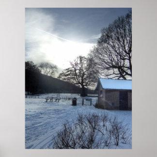 Stunning Winter Snow Scene In Park Poster