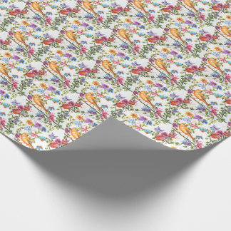 STUNNING YELLOW BIRD WHIMSICAL FLORAL WRAPPING PAPER