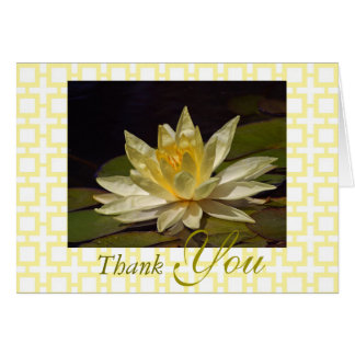 Stunning Yellow White Lotus Blossom Thank You Card