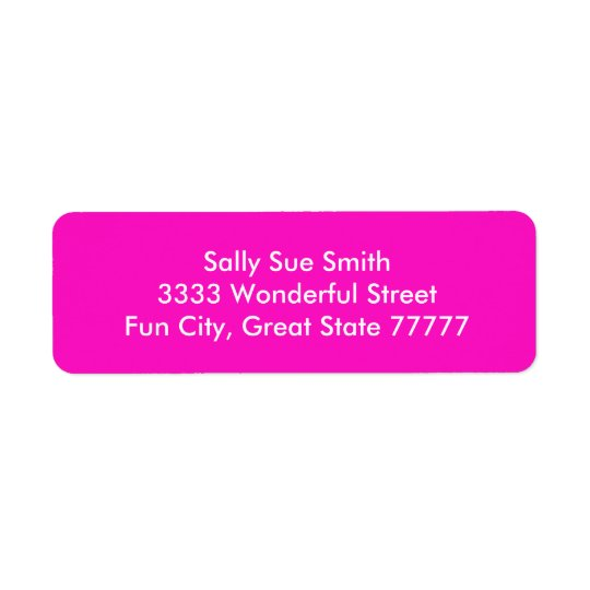 Stunningly Vivacious Pink Colour Return Address Label