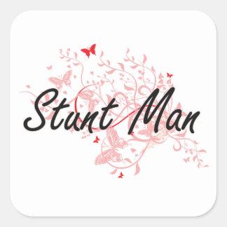 Stunt Man Artistic Job Design with Butterflies Square Sticker