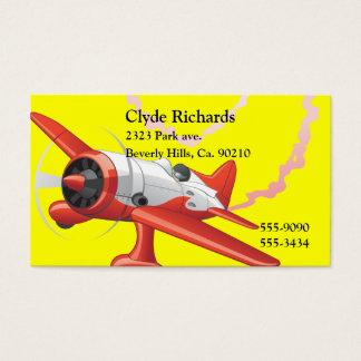 Stunt Pilot In Airplane Custom Color Business Card