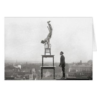 Stuntman Performs Balancing Act, 1917 Card