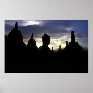 Stupas and Buddha Statue at Sunset, Borobudur Poster