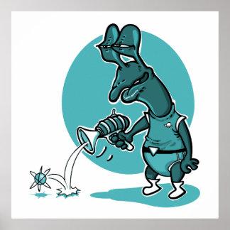 stupid alien cartoon style funny illustration poster