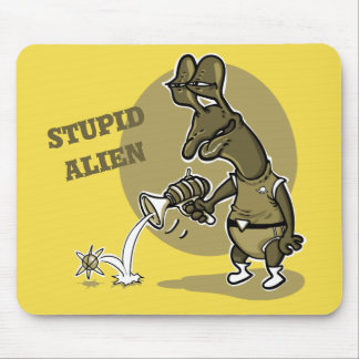 stupid alien shoot single electron cartoon mouse pad